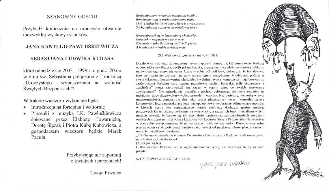 Zaproszenie na otwarcie wystawy rysunków Jana Kantego Pawluśkiewicza z 1999 roku